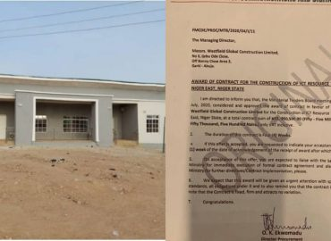 Nigeria communication ministry awards construction of a mini hall for N55.9 million.