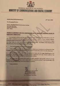Project contract award letter