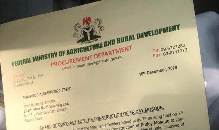 Nigeria Agric Ministry Awards N30 million mosque constructions to a fake, non-existing company