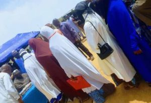women queuing to collect N10k